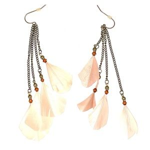 Peacock Rose Gold Feather Earrings
